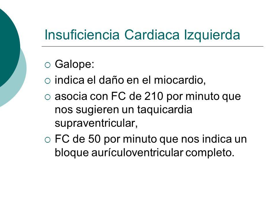 Insuficiencia Cardiaca Izquierda ALTERACIONES DE LA TA hipotensión vasoconstricción periférica aumento secundario de las resistencias periféricas------ hipoxemia tisular.