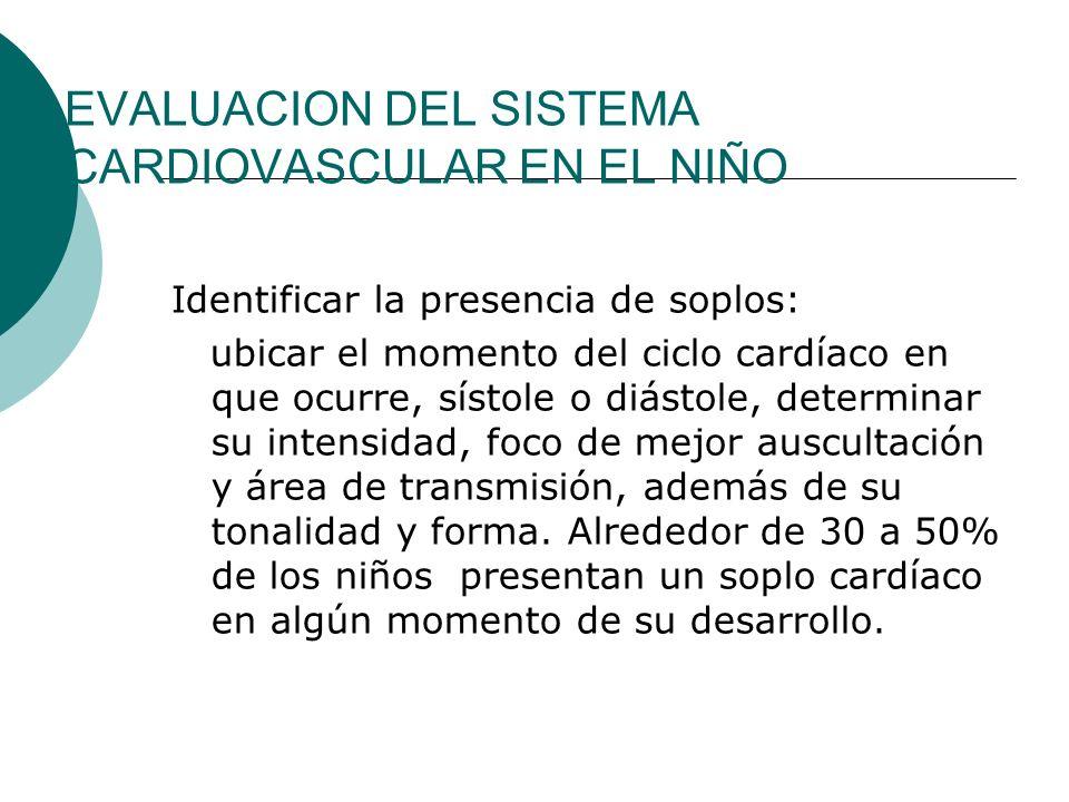 EVALUACION DEL SISTEMA CARDIOVASCULAR EN EL NIÑO Exámenes de Laboratorio Radiografía de tórax Forma y tamaño cardiaco.
