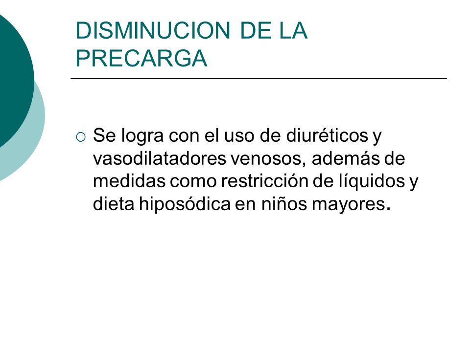 DISMINUCION DE LA PRECARGA Furosemida Inhibidor de la reabsorción de sodio en el asa de Henle IV :1-2 mg/kg/dosis, c/6-12h VO: 2-3mg/kg/ día, c/ 8-12h