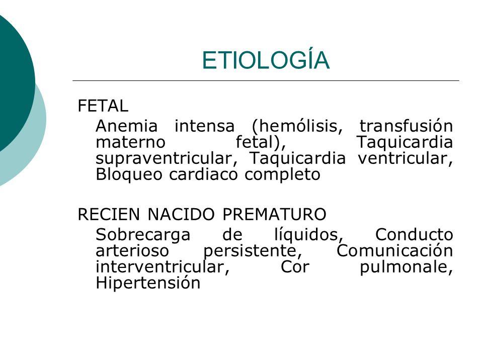 ETIOLOGÍA RECIEN NACIDO A TERMINO Miocardiopatia asfíctica, Malformaciones arteriovenosas (vena de galeno), Lesión obstructiva del lado izquierdo, Grandes defectos cardiacos mixtos (ventrículo único), Miocarditis viral, Hipertensión aguda (SX hemolítico – uremico)