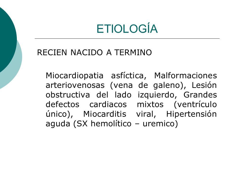 ETIOLOGÍA LACTANTE – PREESCOLAR Shunts cardiacos izquierda a derecha (CIV), Hemangioma (malformación arterio venosa), Arteria coronaria izquierda anómala, Miocardiopatia metabólica, Taquicardia supraventricular, Enfermedad de Kawasaki
