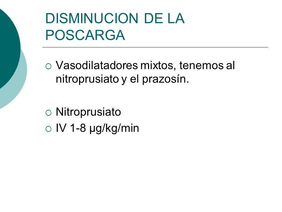 DISMINUCION DE LA POSCARGA Vasodilatadores mixtos, tenemos al nitroprusiato y el prazosín. Nitroprusiato IV 1-8 μg/kg/min
