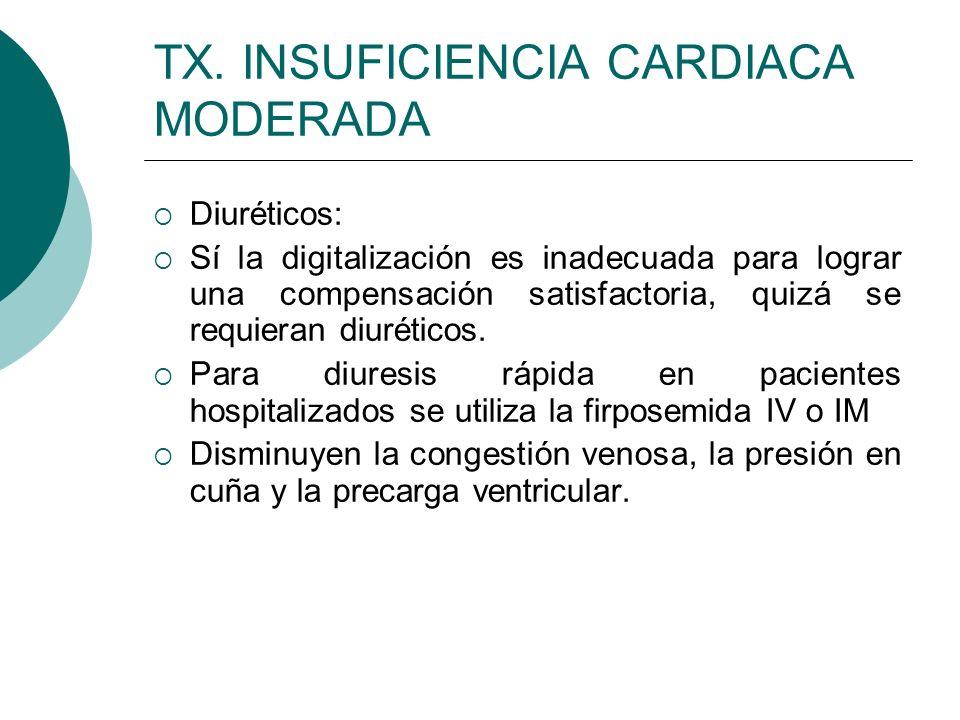 Furosemida IV O IM 1 mg/kg/ dosis 2 a 3 veces al día (hospitalización, vigilar ES) Oral 2 a 5 mg/kg/ día Tiacidas: Estos fármacos deben administrarse diario con espirolactona (ayuda a evitar la pérdida de Potasio) Suspensión de clorotiacida: 250 mg/ cucharada o 20 mg/kg/día idroclorotiacida: 2 mg/kg/día Espironolactona: 2 a 4 mg/kg/día dividida en dos dosis