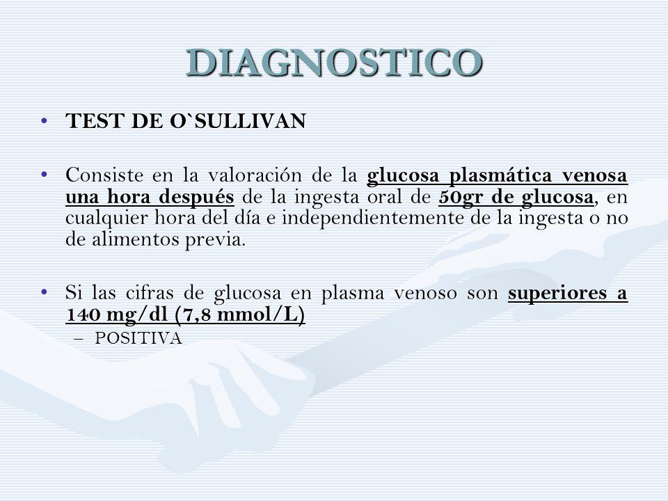 DIAGNOSTICO TEST DE O`SULLIVAN TEST DE O`SULLIVAN Consiste en la valoración de la glucosa plasmática venosa una hora después de la ingesta oral de, en
