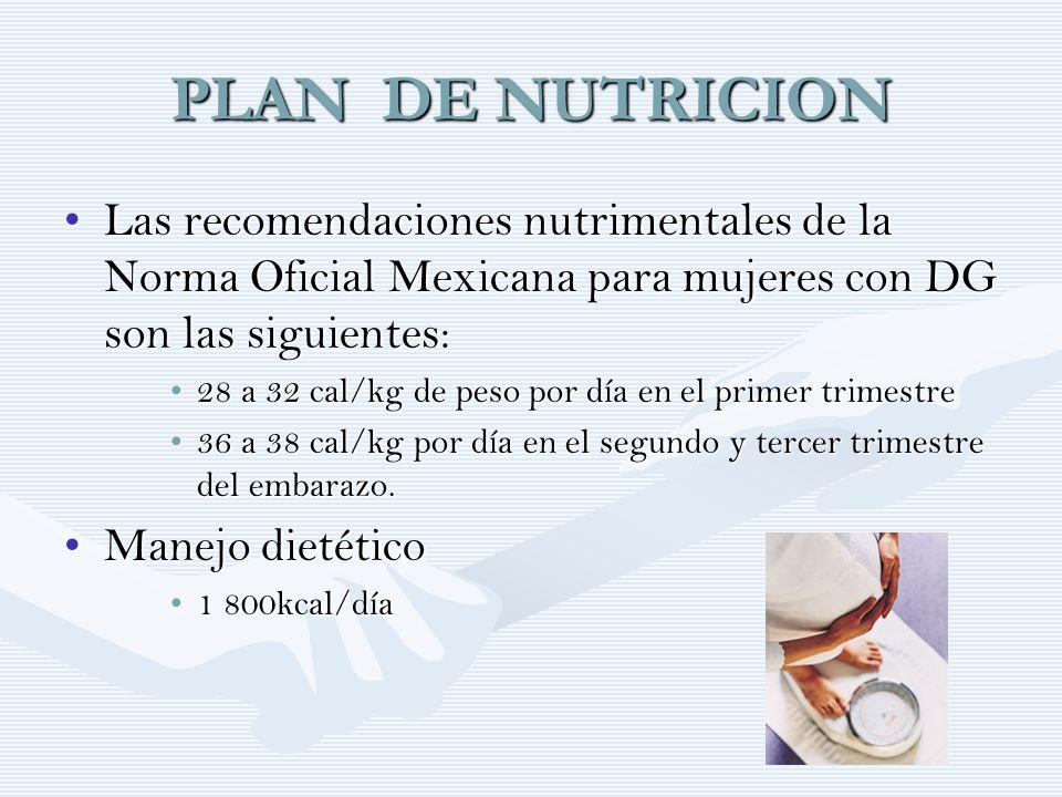 PLAN DE NUTRICION Las recomendaciones nutrimentales de la Norma Oficial Mexicana para mujeres con DG son las siguientes:Las recomendaciones nutrimenta