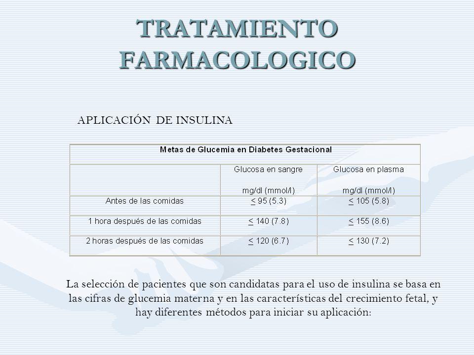 TRATAMIENTO FARMACOLOGICO APLICACIÓN DE INSULINA La selección de pacientes que son candidatas para el uso de insulina se basa en las cifras de glucemi