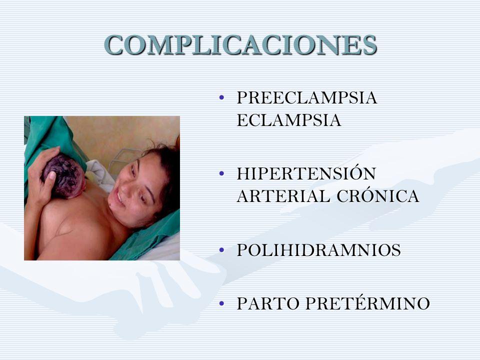 COMPLICACIONES PREECLAMPSIA ECLAMPSIAPREECLAMPSIA ECLAMPSIA HIPERTENSIÓN ARTERIAL CRÓNICAHIPERTENSIÓN ARTERIAL CRÓNICA POLIHIDRAMNIOSPOLIHIDRAMNIOS PA