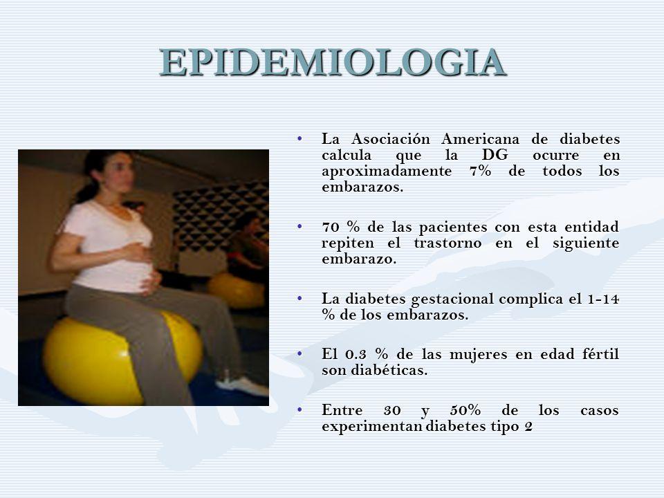 EPIDEMIOLOGIA La Asociación Americana de diabetes calcula que la DG ocurre en aproximadamente 7% de todos los embarazos. La Asociación Americana de di