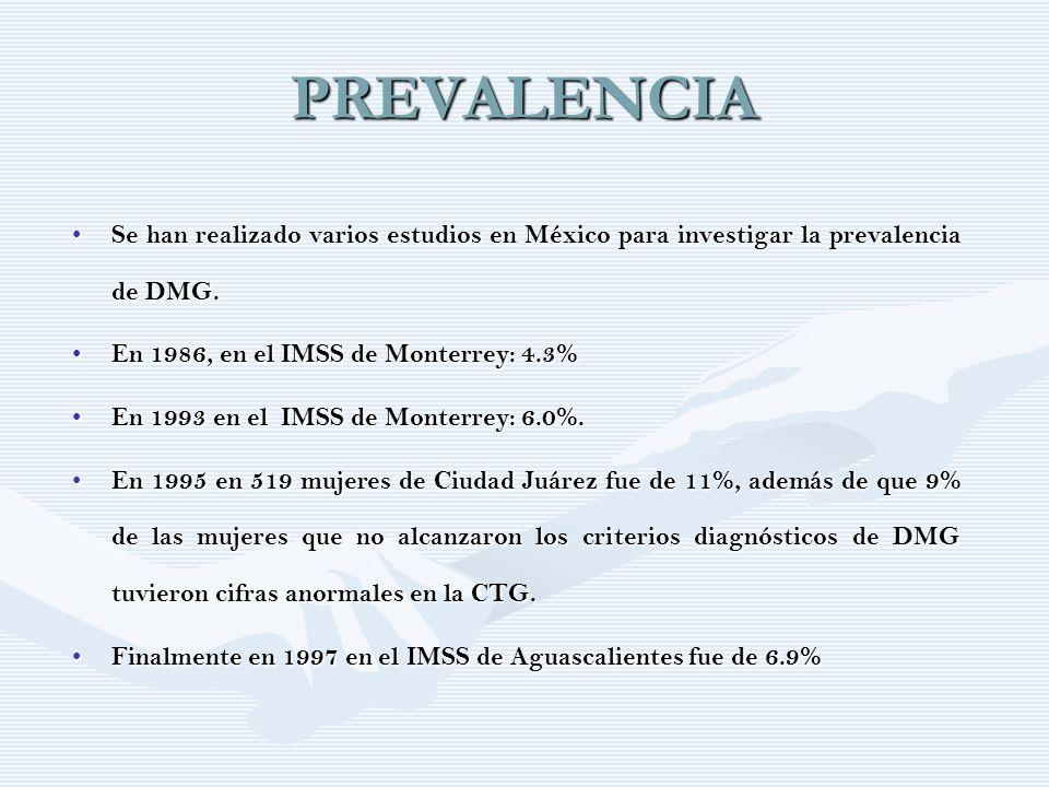 PREVALENCIA Se han realizado varios estudios en México para investigar la prevalencia de DMG. Se han realizado varios estudios en México para investig