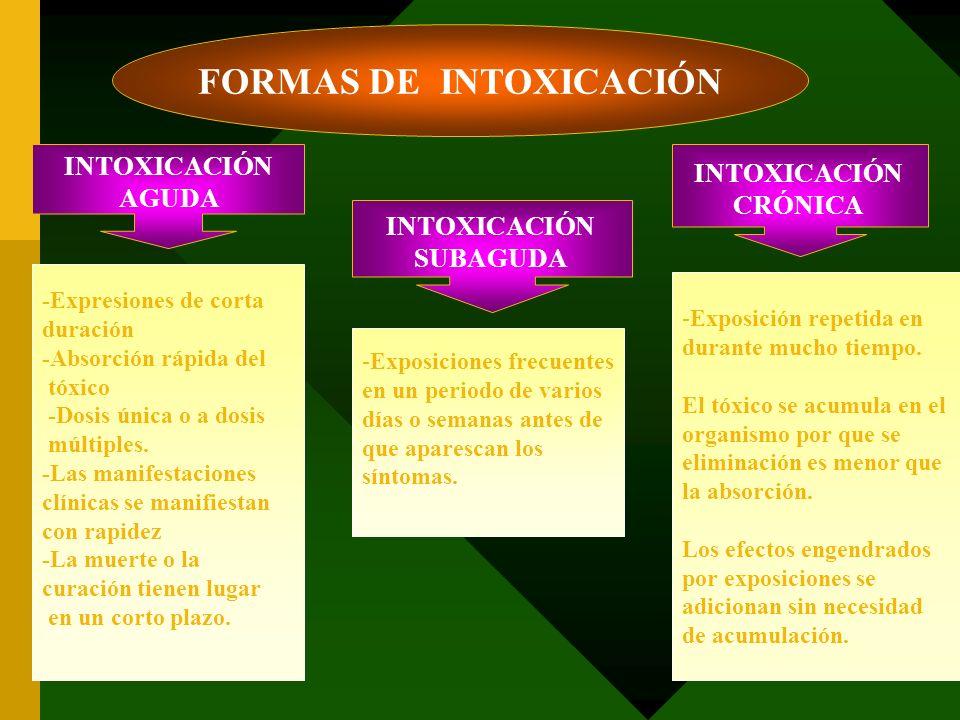 INTOXICACIÓN AGUDA INTOXICACIÓN SUBAGUDA INTOXICACIÓN CRÓNICA FORMAS DE INTOXICACIÓN -Expresiones de corta duración -Absorción rápida del tóxico -Dosi