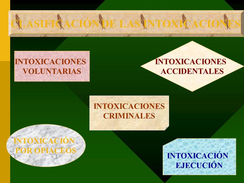 CLASIFICACIÓN DE LAS INTOXICACIONES INTOXICACIONES VOLUNTARIAS INTOXICACIÓN EJECUCIÓN INTOXICACIÓN POR OPIACEOS INTOXICACIONES ACCIDENTALES INTOXICACI