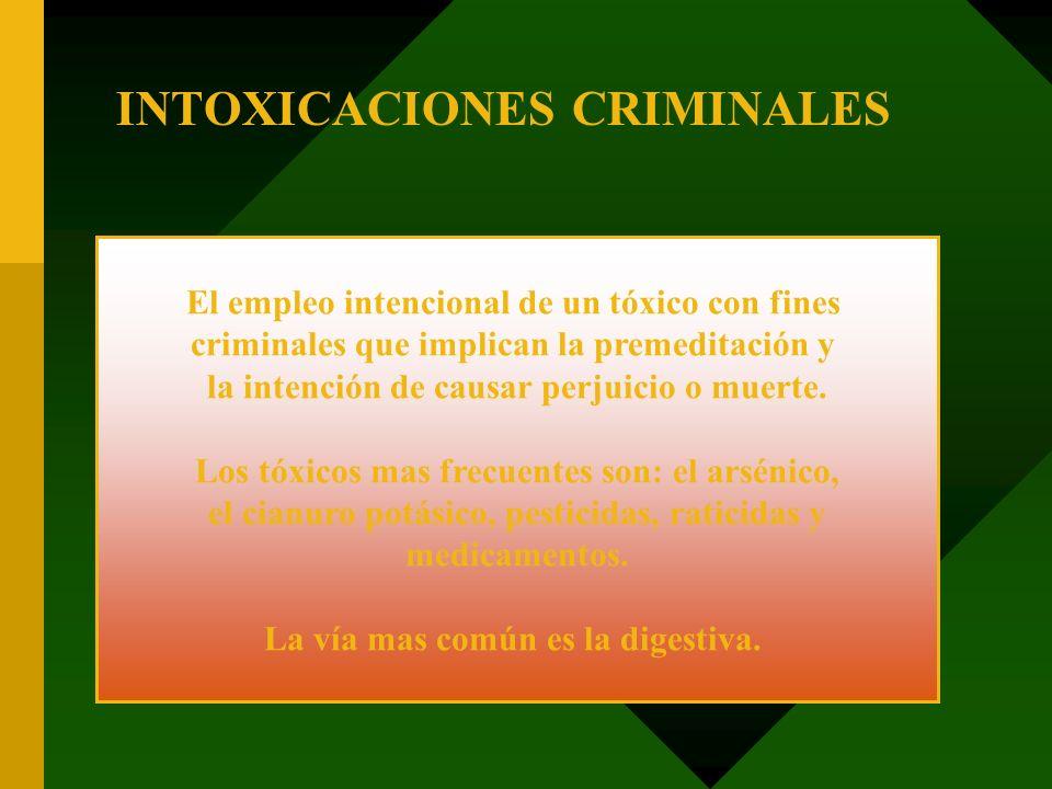 El empleo intencional de un tóxico con fines criminales que implican la premeditación y la intención de causar perjuicio o muerte. Los tóxicos mas fre