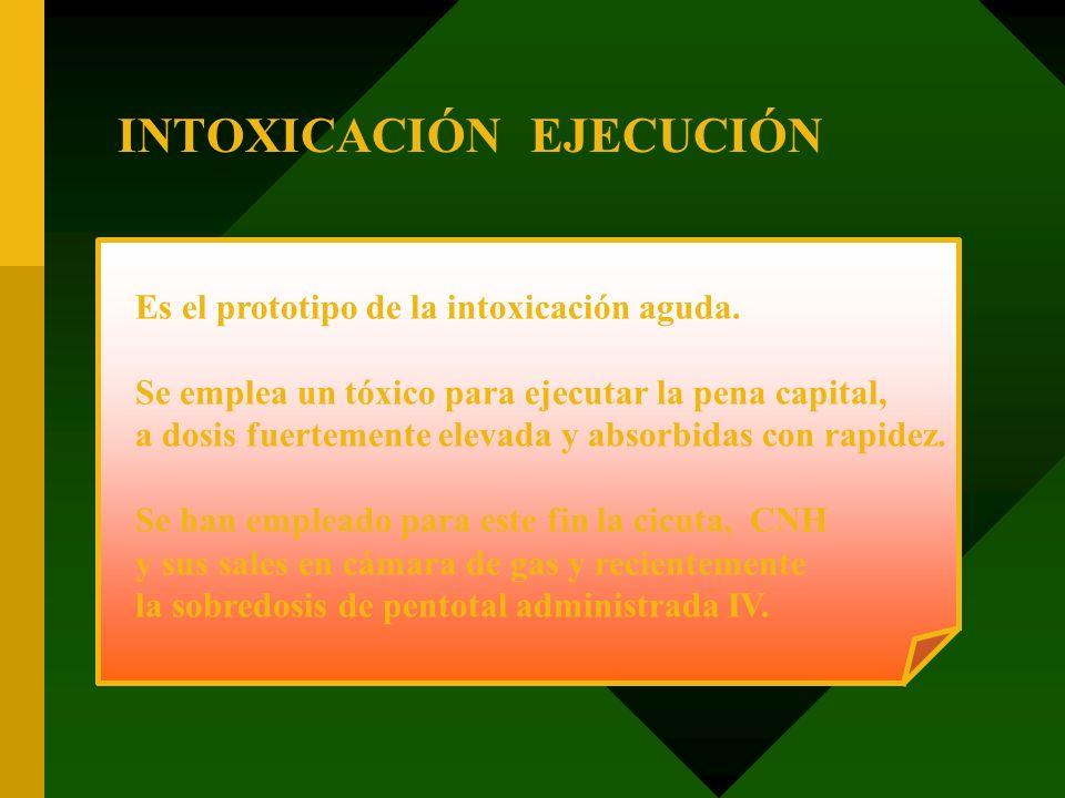 INTOXICACIÓN EJECUCIÓN Es el prototipo de la intoxicación aguda. Se emplea un tóxico para ejecutar la pena capital, a dosis fuertemente elevada y abso
