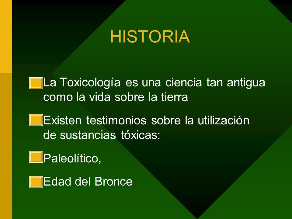 HISTORIA La Toxicología es una ciencia tan antigua como la vida sobre la tierra Existen testimonios sobre la utilización de sustancias tóxicas: Paleol