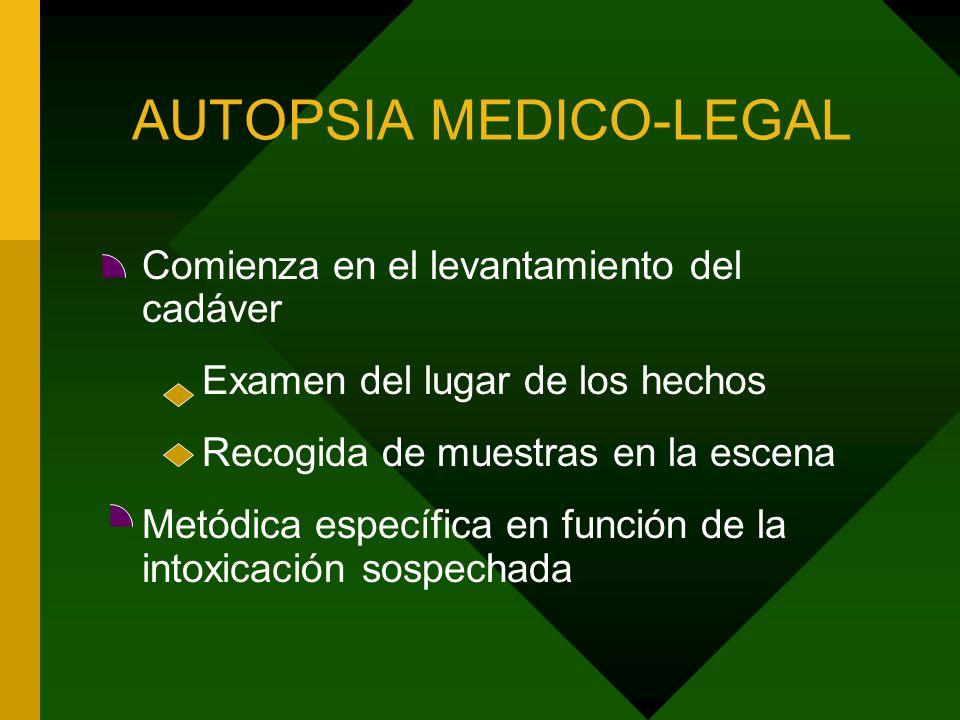 AUTOPSIA MEDICO-LEGAL Comienza en el levantamiento del cadáver Examen del lugar de los hechos Recogida de muestras en la escena Metódica específica en