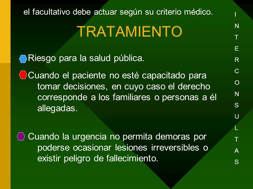 TRATAMIENTO Riesgo para la salud pública. Cuando el paciente no esté capacitado para tomar decisiones, en cuyo caso el derecho corresponde a los famil