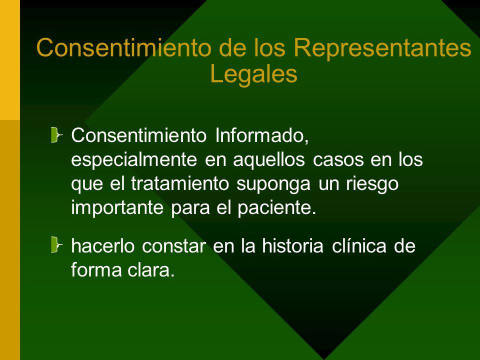 Consentimiento de los Representantes Legales Consentimiento Informado, especialmente en aquellos casos en los que el tratamiento suponga un riesgo imp