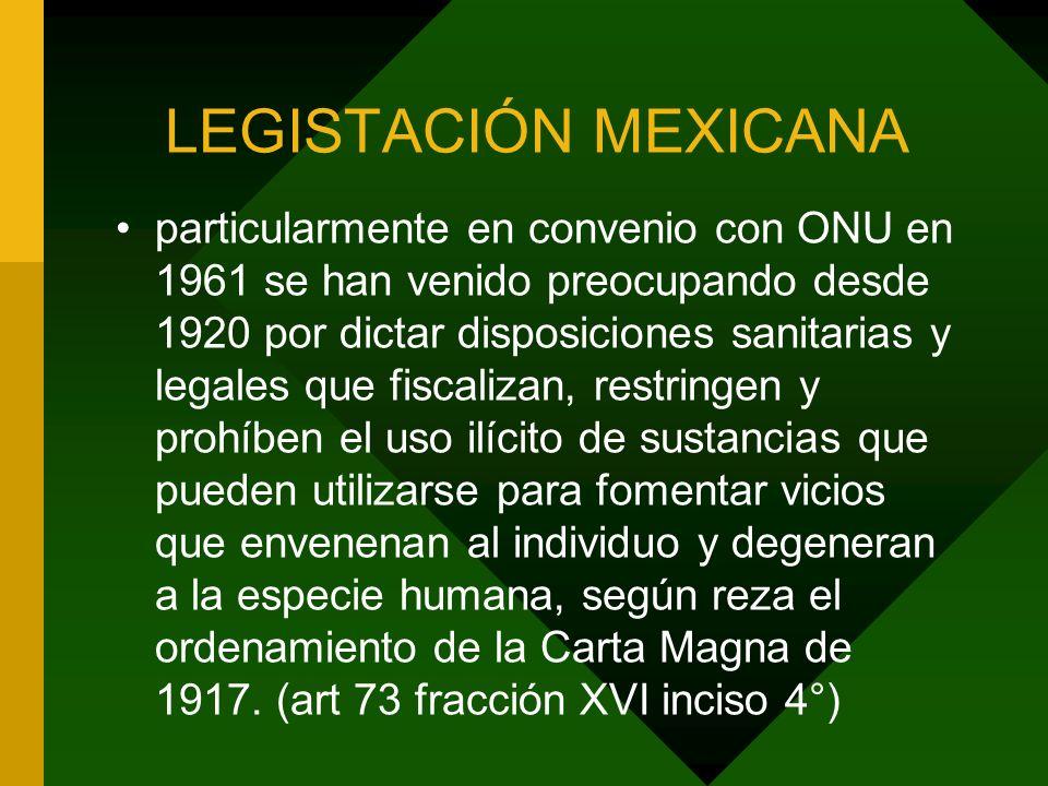 LEGISTACIÓN MEXICANA particularmente en convenio con ONU en 1961 se han venido preocupando desde 1920 por dictar disposiciones sanitarias y legales qu