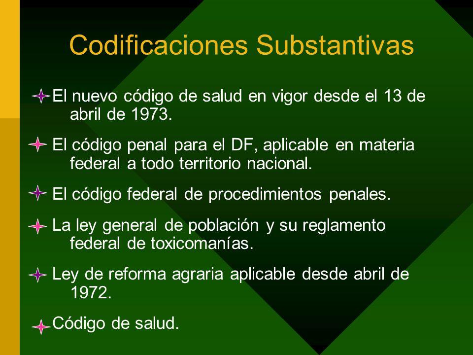 Codificaciones Substantivas El nuevo código de salud en vigor desde el 13 de abril de 1973. El código penal para el DF, aplicable en materia federal a