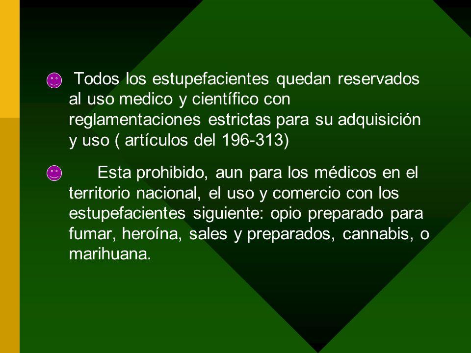 Todos los estupefacientes quedan reservados al uso medico y científico con reglamentaciones estrictas para su adquisición y uso ( artículos del 196-31