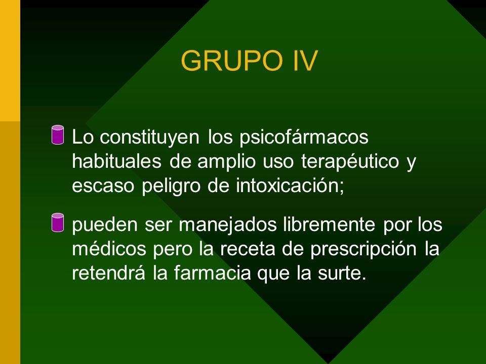 GRUPO IV Lo constituyen los psicofármacos habituales de amplio uso terapéutico y escaso peligro de intoxicación; pueden ser manejados libremente por l