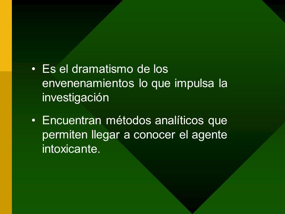 Es el dramatismo de los envenenamientos lo que impulsa la investigación Encuentran métodos analíticos que permiten llegar a conocer el agente intoxica