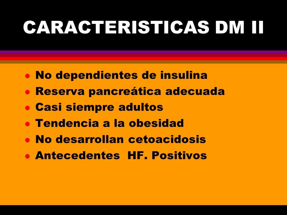 CARACTERISTICAS DM II l No dependientes de insulina l Reserva pancreática adecuada l Casi siempre adultos l Tendencia a la obesidad l No desarrollan c