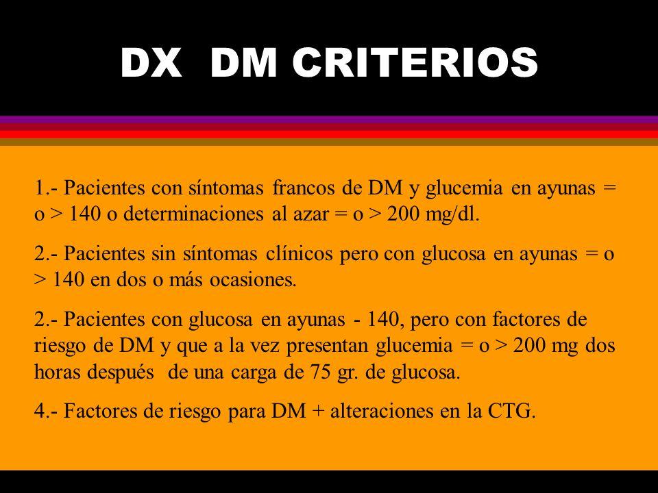 DX DM CRITERIOS 1.- Pacientes con síntomas francos de DM y glucemia en ayunas = o > 140 o determinaciones al azar = o > 200 mg/dl. 2.- Pacientes sin s