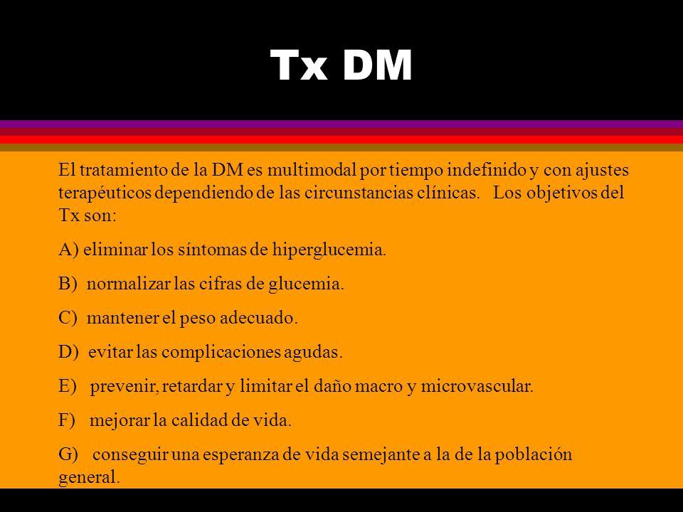 Tx DM El tratamiento de la DM es multimodal por tiempo indefinido y con ajustes terapéuticos dependiendo de las circunstancias clínicas. Los objetivos
