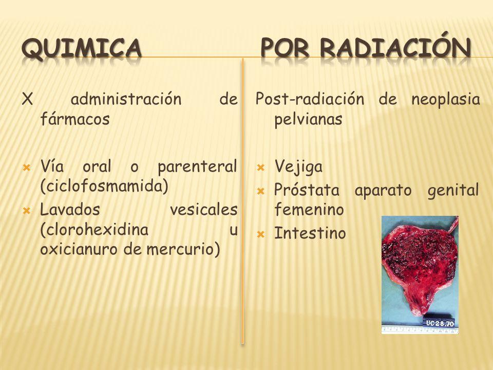 X administración de fármacos Vía oral o parenteral (ciclofosmamida) Lavados vesicales (clorohexidina u oxicianuro de mercurio) Post-radiación de neopl