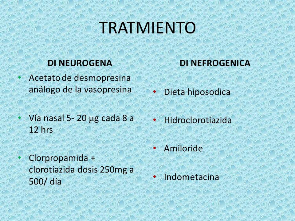 TRATMIENTO DI NEUROGENA Acetato de desmopresina análogo de la vasopresina Vía nasal 5- 20 g cada 8 a 12 hrs Clorpropamida + clorotiazida dosis 250mg a