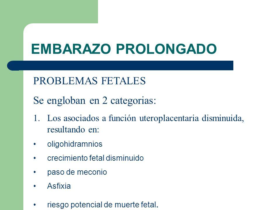 EMBARAZO PROLONGADO PROBLEMAS FETALES Se engloban en 2 categorias: 1.Los asociados a función uteroplacentaria disminuida, resultando en: oligohidramni