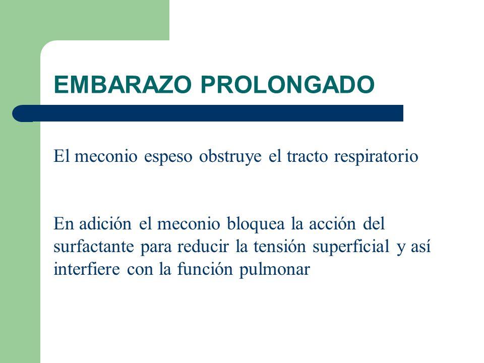 EMBARAZO PROLONGADO El meconio espeso obstruye el tracto respiratorio En adición el meconio bloquea la acción del surfactante para reducir la tensión