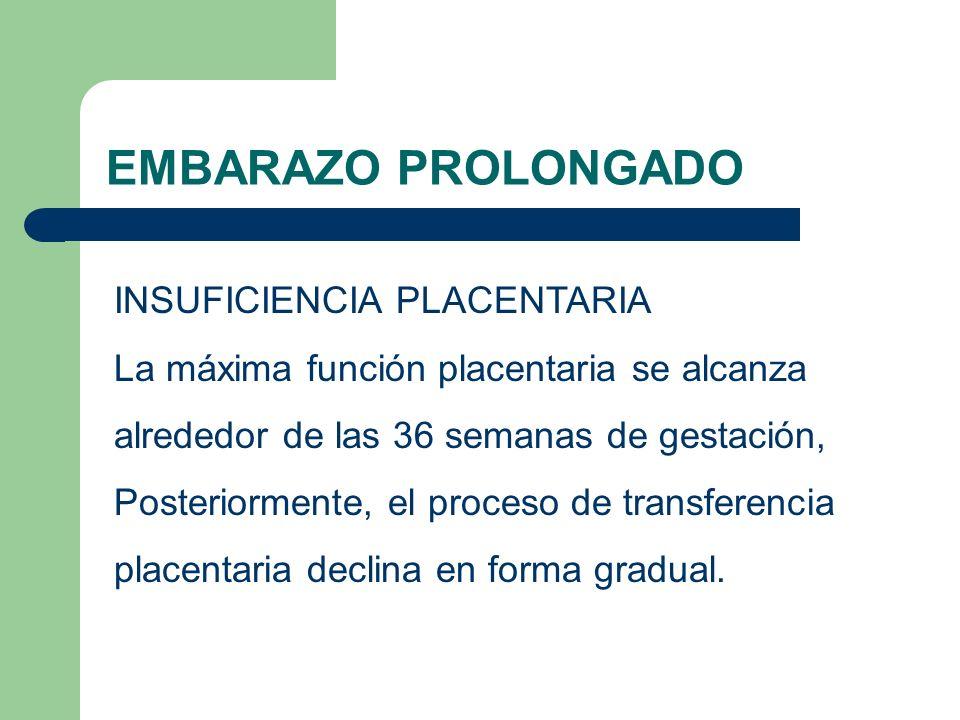 EMBARAZO PROLONGADO INSUFICIENCIA PLACENTARIA La máxima función placentaria se alcanza alrededor de las 36 semanas de gestación, Posteriormente, el pr