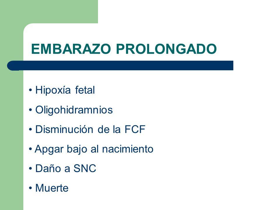 EMBARAZO PROLONGADO Hipoxía fetal Oligohidramnios Disminución de la FCF Apgar bajo al nacimiento Daño a SNC Muerte