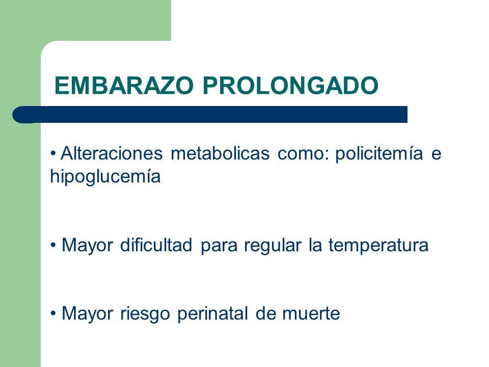EMBARAZO PROLONGADO Alteraciones metabolicas como: policitemía e hipoglucemía Mayor dificultad para regular la temperatura Mayor riesgo perinatal de m