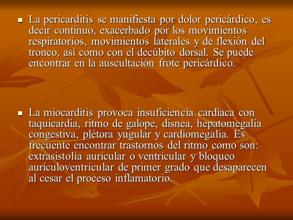 La pericarditis se manifiesta por dolor pericárdico, es decir continuo, exacerbado por los movimientos respiratorios, movimientos laterales y de flexi