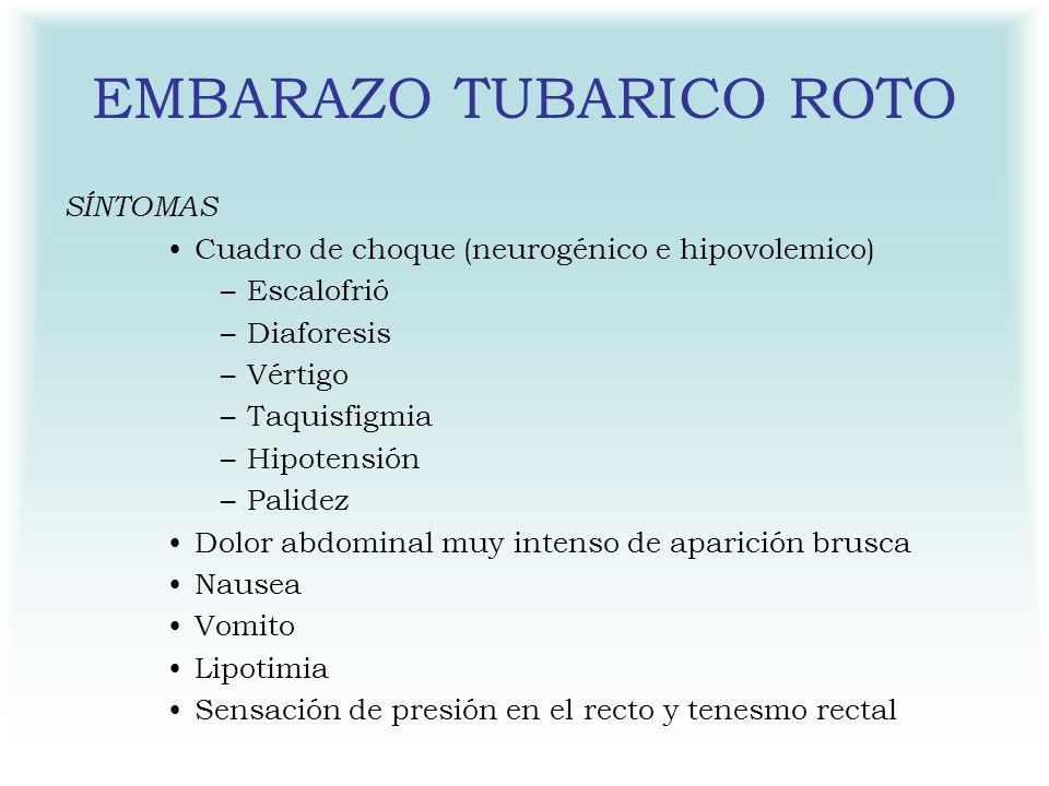 EMBARAZO TUBARICO ROTO SÍNTOMAS Cuadro de choque (neurogénico e hipovolemico) –Escalofrió –Diaforesis –Vértigo –Taquisfigmia –Hipotensión –Palidez Dol
