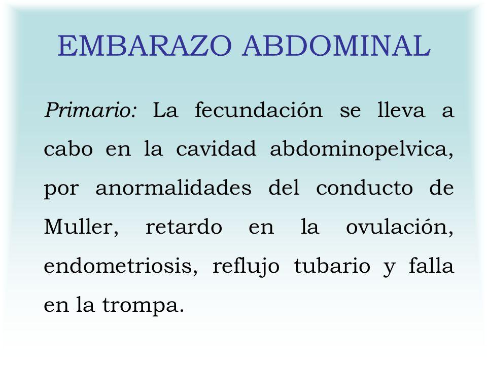 EMBARAZO ABDOMINAL Primario: La fecundación se lleva a cabo en la cavidad abdominopelvica, por anormalidades del conducto de Muller, retardo en la ovu