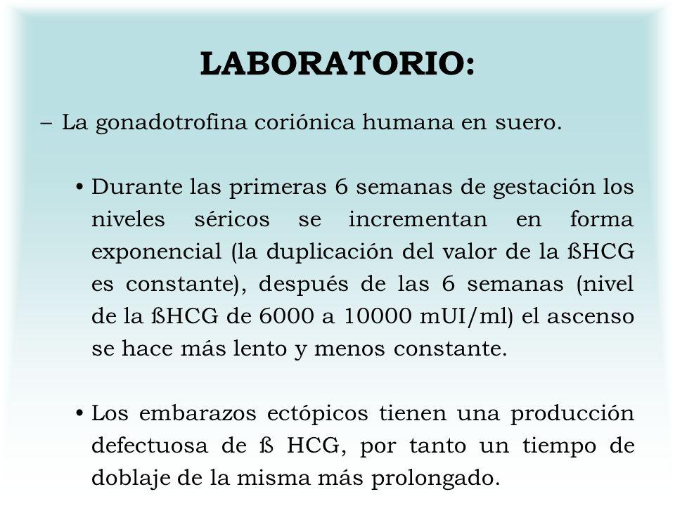 LABORATORIO: –L–La gonadotrofina coriónica humana en suero. Durante las primeras 6 semanas de gestación los niveles séricos se incrementan en forma ex