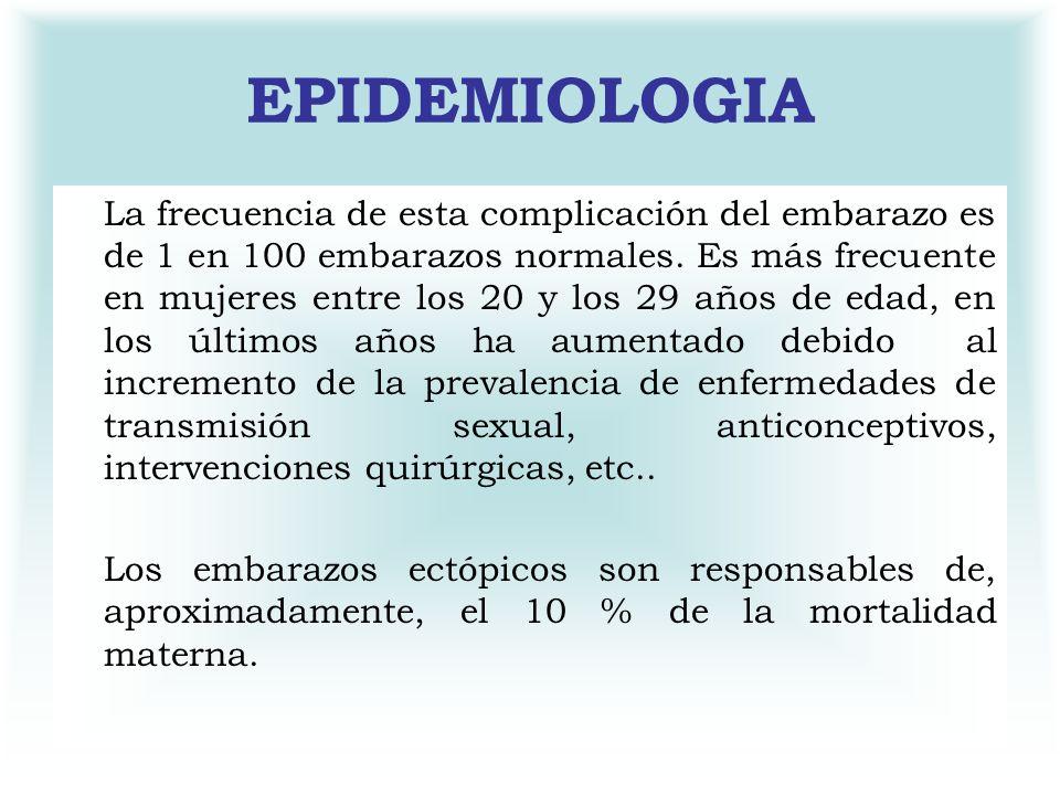 EPIDEMIOLOGIA La frecuencia de esta complicación del embarazo es de 1 en 100 embarazos normales. Es más frecuente en mujeres entre los 20 y los 29 año