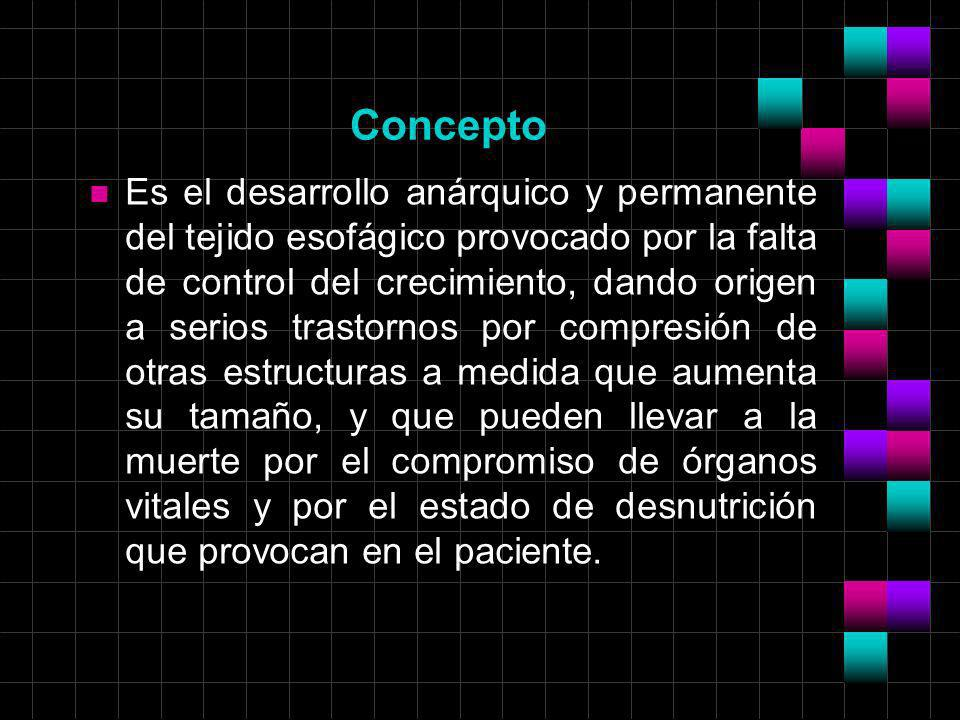 Concepto n Es el desarrollo anárquico y permanente del tejido esofágico provocado por la falta de control del crecimiento, dando origen a serios trast