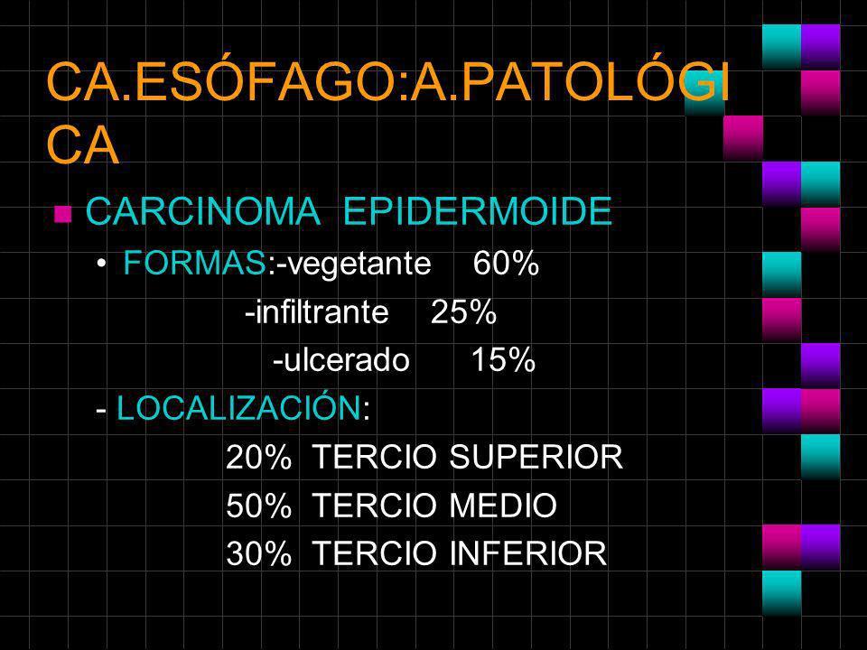 CA.ESÓFAGO:A.PATOLÓGI CA n CARCINOMA EPIDERMOIDE FORMAS:-vegetante 60% -infiltrante 25% -ulcerado 15% - LOCALIZACIÓN: 20% TERCIO SUPERIOR 50% TERCIO M