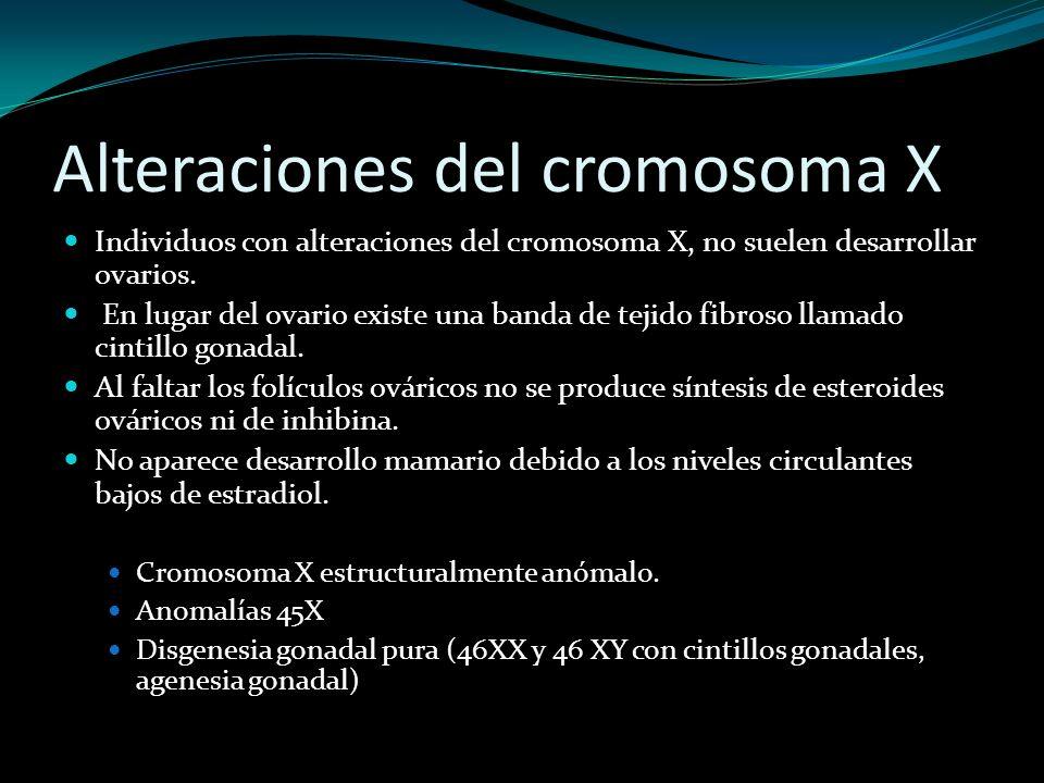 Alteraciones del cromosoma X Individuos con alteraciones del cromosoma X, no suelen desarrollar ovarios. En lugar del ovario existe una banda de tejid