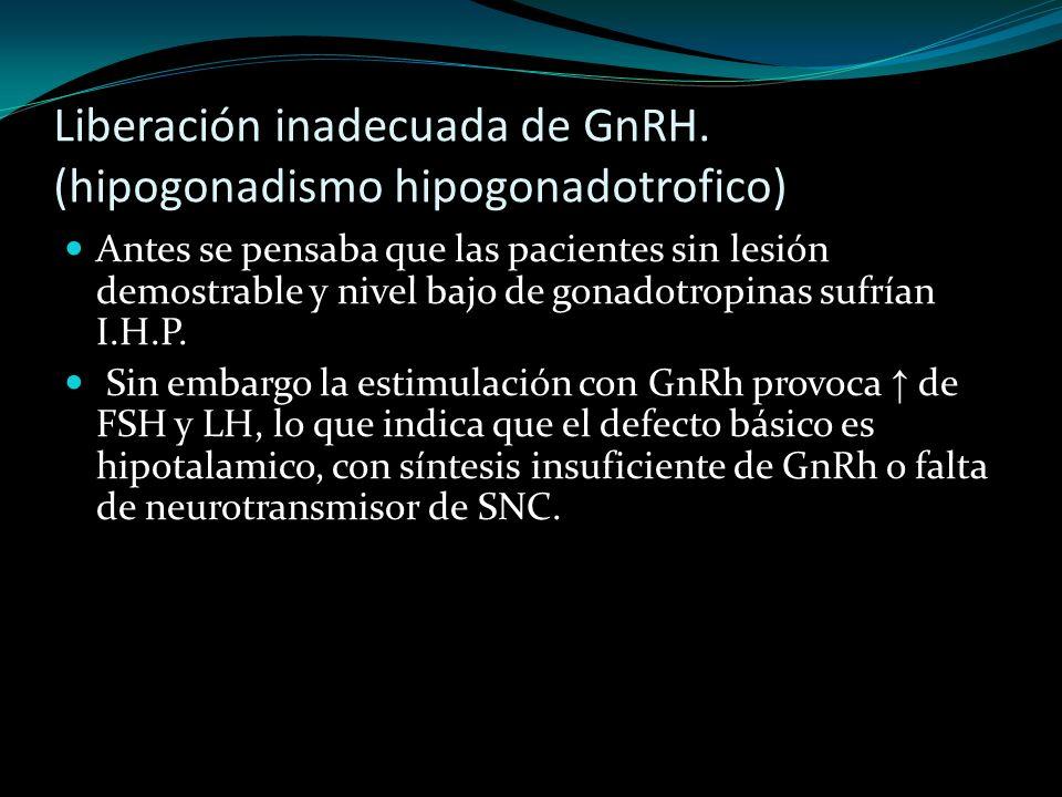Liberación inadecuada de GnRH. (hipogonadismo hipogonadotrofico) Antes se pensaba que las pacientes sin lesión demostrable y nivel bajo de gonadotropi