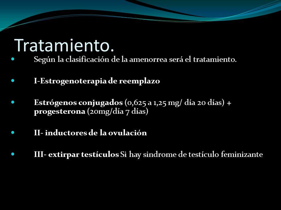 Tratamiento. Según la clasificación de la amenorrea será el tratamiento. I-Estrogenoterapia de reemplazo Estrógenos conjugados (0,625 a 1,25 mg/ día 2