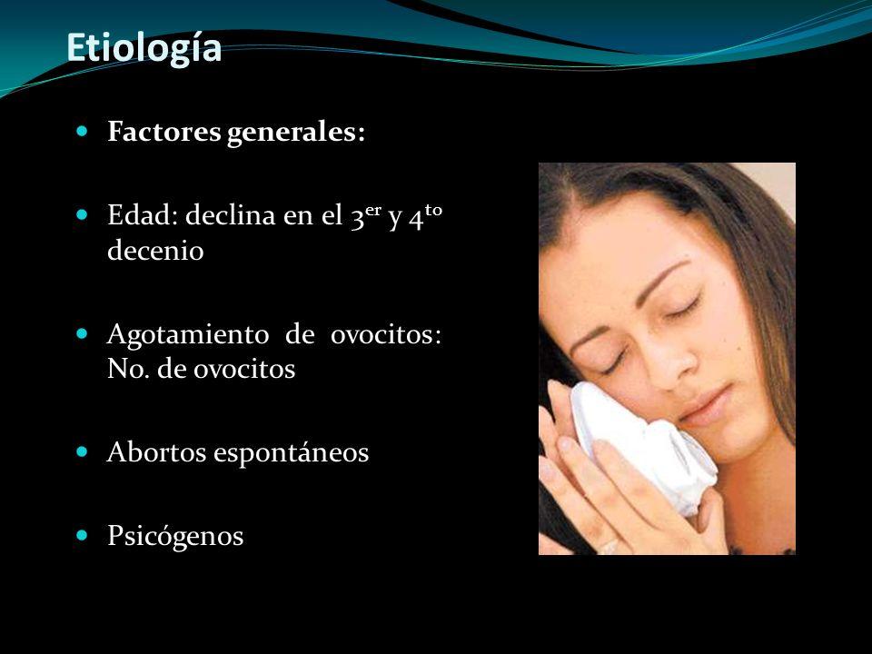 Etiología Factores generales: Edad: declina en el 3 er y 4 to decenio Agotamiento de ovocitos: No. de ovocitos Abortos espontáneos Psicógenos