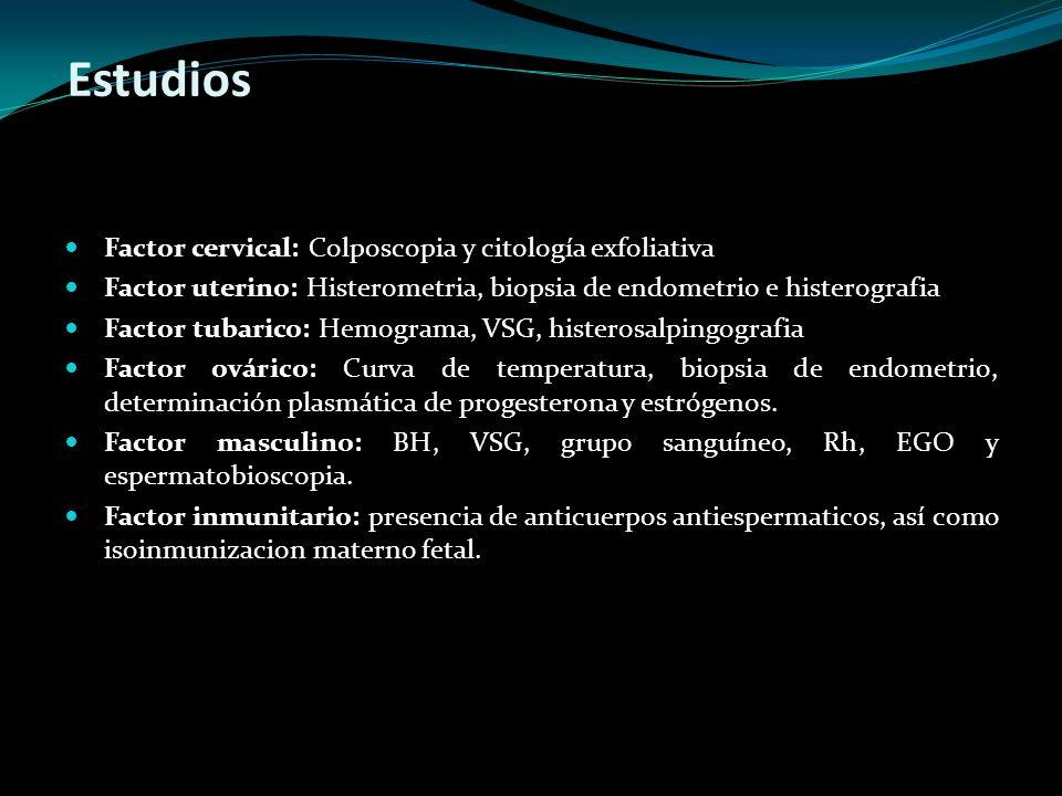 Estudios Factor cervical: Colposcopia y citología exfoliativa Factor uterino: Histerometria, biopsia de endometrio e histerografia Factor tubarico: He