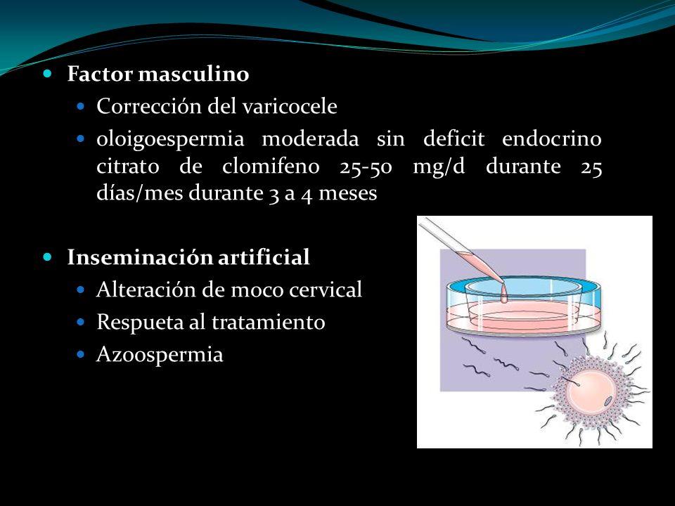 Factor masculino Corrección del varicocele oloigoespermia moderada sin deficit endocrino citrato de clomifeno 25-50 mg/d durante 25 días/mes durante 3
