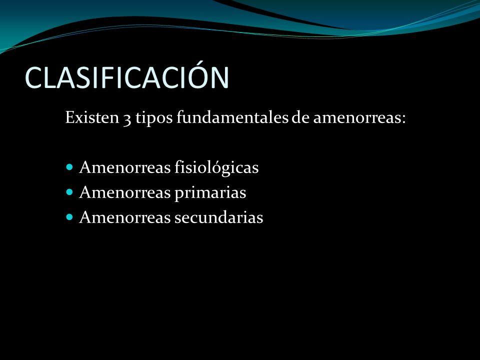 CLASIFICACIÓN Existen 3 tipos fundamentales de amenorreas: Amenorreas fisiológicas Amenorreas primarias Amenorreas secundarias